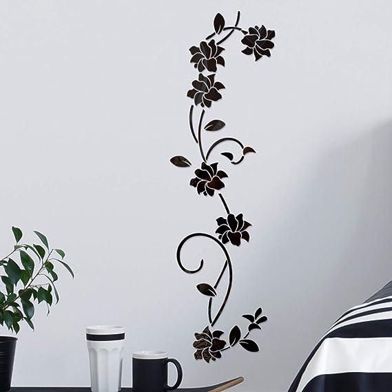 YWLINK 3D DIY Forma De La Flor AcríLico Etiqueta De La Pared ...