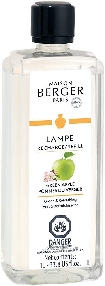 Green Apple | Lampe Berger Fragrance Refill for Home Fragrance Oil Diffuser | Purifying and perfuming Your Home | 33.8 Fluid Ounces - 1 Liter | Made in France