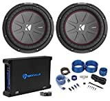 "(2) Kicker 43CWR102 COMPR10 10"" 1600 Watt Subwoofers+Mono Amplifier+Amp Kit"