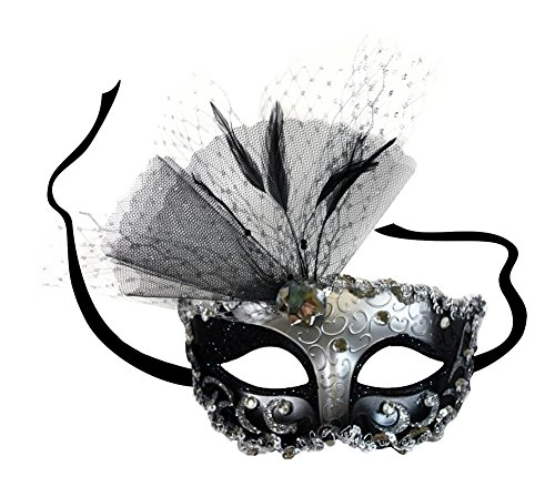 Success Creations Elizabeth Black-Silver Masquerade Mask for Women
