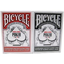 Bicycle WSOP Plastic Coated Playing Cards - 2 Decks Poker Size Regular Index Red/Black