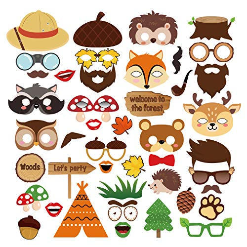 (CC HOME 44CT Woodland Creature Party Supplies,Woodland Photo Booth Props,Forest Friend Animal Party Supplies,Selfie Props for Boys ,Girls ,Nursery,Wedding,Camping ,Woodland Theme Party,Baby Shower ,Forest Friend Animal Birthday Party Supplies Favor)