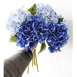 LNHOMY Artificial Silk Flowers French Fake Beautiful Hydrangea Bunch Bouquet Flower for Home Wedding Decor Pack of 4, Blue 5