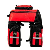 65L Waterproof Cycling Bag Bicycle Rack Bag Long Journey Luggage Mountain Bike Pannier Cycling Bags +Rain Cover (Red)