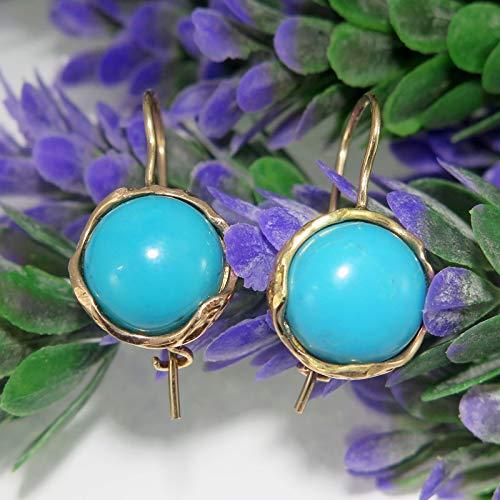 Turquoise Rose Gold Earrings (14k Rose Gold Turquoise Dangle Earrings)