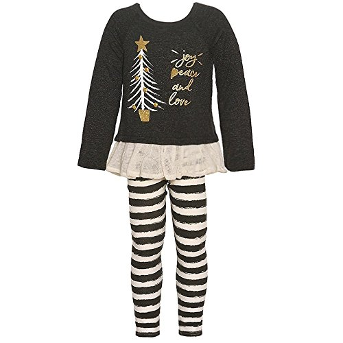 Rare Editions Girls' Girls 2t-4t Long Sleeve Hope Joy Love Top and Striped Leggings Set 4T Rare Editions Spring