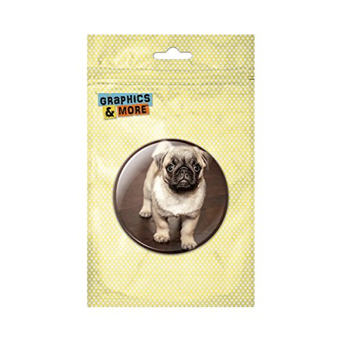 Cute Pug Pinback Button Pin Badge - 1 Inch Diameter (Button Pug)