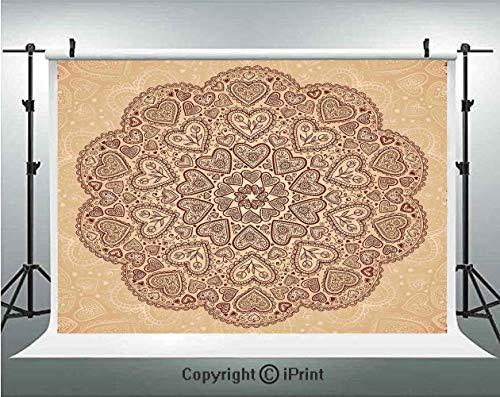Beige Photography Backdrops Ethnic Heart and Tulip Motifs Antique Floral Oriental Asian Vintage Styled Boho Chic Decorative,Birthday Party Background Customized Microfiber Photo Studio Props,7x5ft,Cho