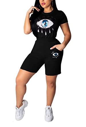 Women Summer 2 Piece Outfits Sequins Short Sleeve Tshirts Shorts Set Tracksuits Jogging Suits Set Party Clubwear