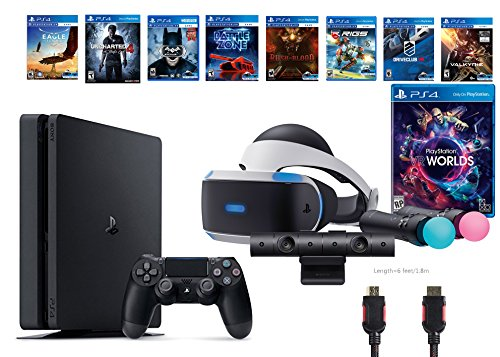 PlayStation VR Launch Bundle 9 Items:VR Launch Bundle,PS4 Slim- Uncharted 4,7VR Game Disc Until Dawn:Rush of Blood, Valkyrie,Battlezone,Arkham VR, DriveClub,Eagle Flight,Combat League
