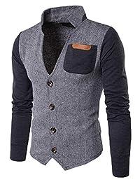 Nanquan Men NQ Men's Blazer Slim Fit V Collar Stitching Stand Collar Buttons Business Coat