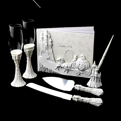 Majestic White Cinderella Castle Wedding Cake Server Set ()