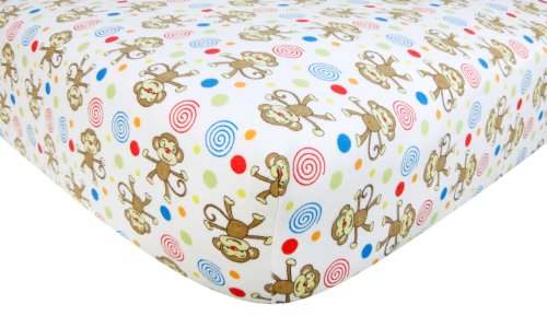 Trend Lab Flannel Crib Sheet, Monkey Print