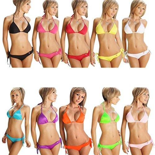 Bikini, FAMILIZO Set De Bikini Para Mujer Push-Up Sujetador Vendaje Traje De BañO BañAdor Traje De BañO Naranja