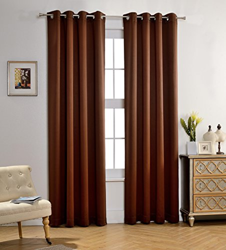 MYSKY HOME Solid Grommet top Thermal Insulated Window Blackout Curtains, 52 x 84 Inch, Brown, 1 Panel