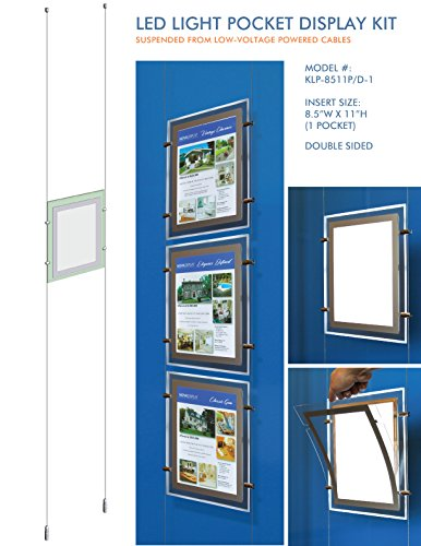 Suspended LED Light Pocket for Real Estate Window Displays - Cable Suspended Poster Display Kit with 1 (one) LED Light Pocket - Double Sided (Insert Size 8.5
