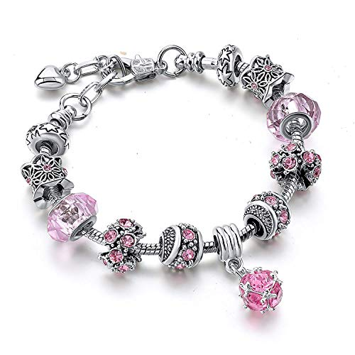 Mystiqs Silver Tone Beaded Handmade Bracelet with Carved Plated Charms, Sparkly Pink Murano Crystals Beads & Snake Chain
