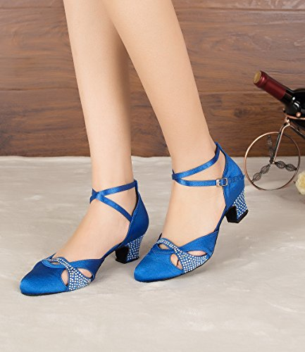 Morden Party Doris Shoes Glitter B M Women's Latin Wedding Salsa Tango US Ballroom Blue Rhinestone 5 7 Professional Satin Dance 0r8Oq0