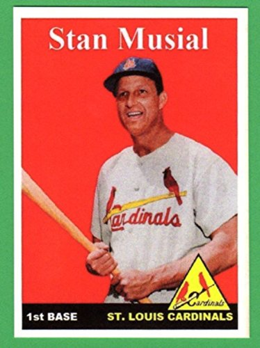 Stan Musial 1958 Topps Style Custom Baseball Card (Cardinals)
