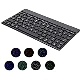 Aluminium Backlit Bluetooth Keyboard, Universal Ultra Slim Wireless 7 Colors Backlight for iPad 9.7/10.5/Pro/Air/mini/Samsung Galaxy Tab &all IOS/Android/Windows System Tablet (Black)