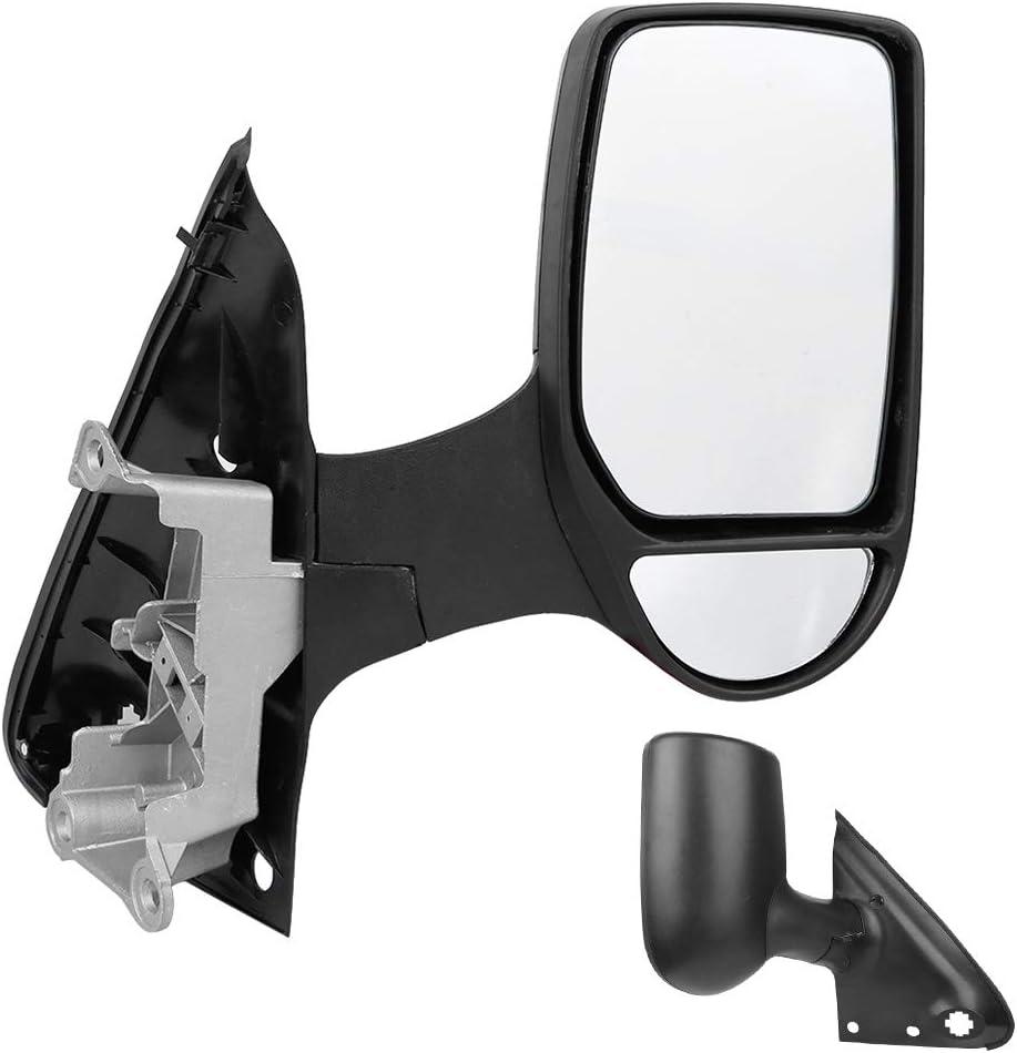 Right Wing Door Mirror Black Manual Rearview Mirror Right Side Rear View Mirrors Drivers Side Fit for Ford Transit Van Mk7 2006‑2014