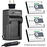 Kastar Battery 3-Pack + Charger Kit for Sony NP-BK1, BC-CSK & Sony Bloggie MHS-CM5, MHS-PM5, Cyber-shot DSC-S750, DSC-S780, DSC-S950, DSC-S980, DSC-W180, DSC-W190, DSC-W370, Webbie MHS-PM1 Cameras