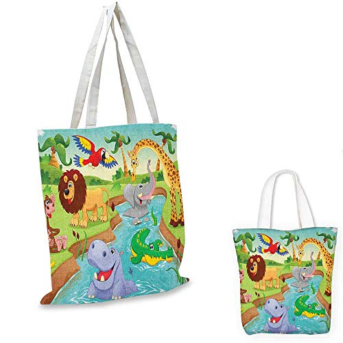 Children canvas shoulder bag Cartoon Safari African Animals Swimming in the Lake Elephant Lions And Giraffe Art canvas lunch bag Multicolor. 15