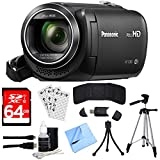"Panasonic HC-V380K Full HD Camcorder with Wi-Fi Multi Scene Twin Camera – Black with Bundle Includes, 64GB High Speed Memory Card, 57"" Full size Tripod & 6' High Speed mini-HDMI to HDMI A/V Cable"