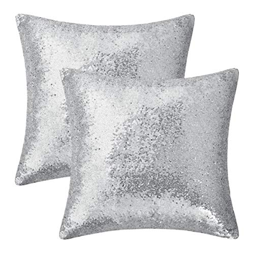 BLEUM CADE Set of 2 Silver Pillow Covers Sparkling Sequins Pillow Covers Mermaid Sequin Throw Pillow Covers Cushion Covers Pillowcases for Party with Hidden Zipper(Silver,18 x 18 Inch)