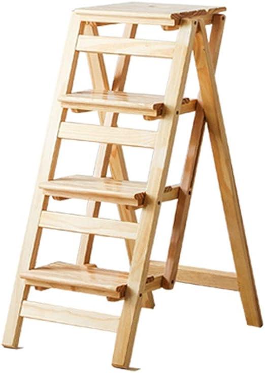 Plegables pasos de escalera Escalera plegable de 4 pasos Escalera/Escalera de madera Escalera plegable multifunción Taburete Biblioteca en casa Escalera para subir, 42 × 68 × 92 cm: Amazon.es: Hogar
