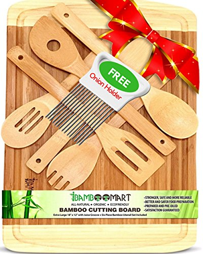 With Bonus 6 Wooden Spoons & Onion Holder, Extra Large 18x12 Organic Bamboo Cutting Board, Housewarming, Wedding & Christmas Gift Set, Wood Cheese Tray with Grooves, Kitchen Utensil, Spatula