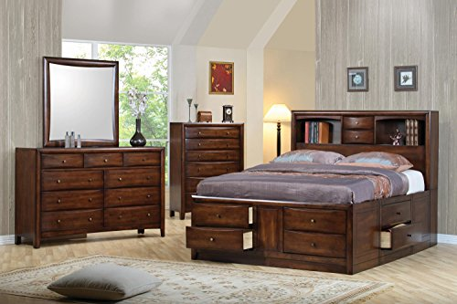 - Coaster Hillary Collection 200609Q Queen Size Bookcase Bed with Underbed Storage Drawers Open Shelves Brushed Nickel Knobs Solid Wood and Maple Veneer Construction in Warm Brown