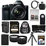 Sony Alpha A7 Digital Camera & 28-70mm FE OSS Lens with 64GB Card + Battery & Charger + Backpack + Flex Tripod + Tele/Wide Lens Kit