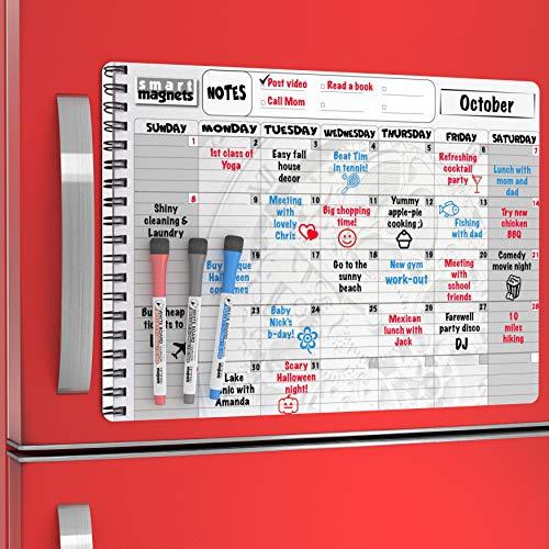 (Magnetic Refrigerator Calendar Dry Erase Boards 2019 - Monthly Dry Earese Board Calendar - Magnetic Menu Board for Fridge / Wipe Off Calendars for Refrigerator - Kitchen Menu Board / Meal Prep Planner)