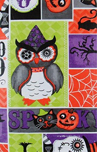 Happy Owl Oween Spooky Patchwork Vinyl Flannel Back