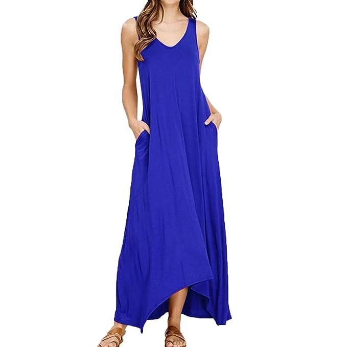 competitive price 9e3d4 67914 Weant Abiti Donna, Abito Taglie Forti Vestito Donna Gonna Lunga Elegante  Abito Blu Nero Rosso Cotone Sciolto Estate Veste Vestito Senza Maniche ...