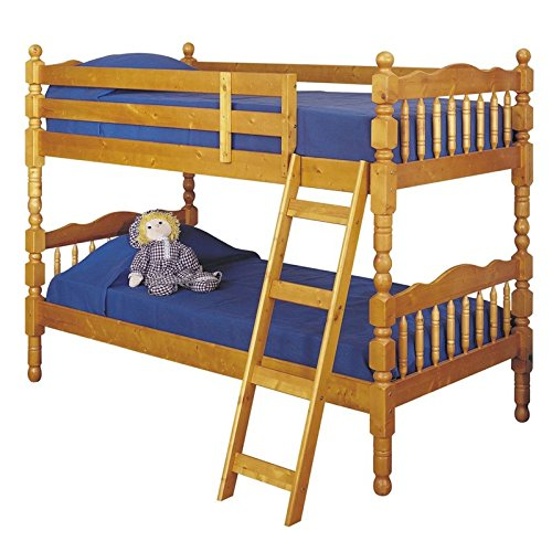 (BOWERY HILL Twin Over Twin Bunk Bed in Honey Oak)