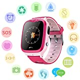 PalmTalkHome Kids Waterproof Smart Watch for Girls Boys - IP67 Water-resistant Children Smartwatch with GPS/LBS Tracker SOS Camera Anti-lost Game for Summer Outdoor Swim Pool Bath Sports Watch Phone (V8 Pink )