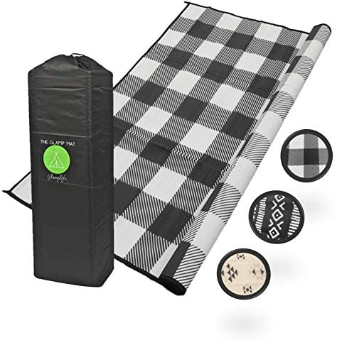 Glamplife RV Mat – Waterproof RV Rug – Camping Rugs for Outside Your RV – 9 x 12 Black and White Farmhouse Buffalo Plaid Rug- Recycled Reversible mats – Large Area Rug- Durable Beautiful Sustainable
