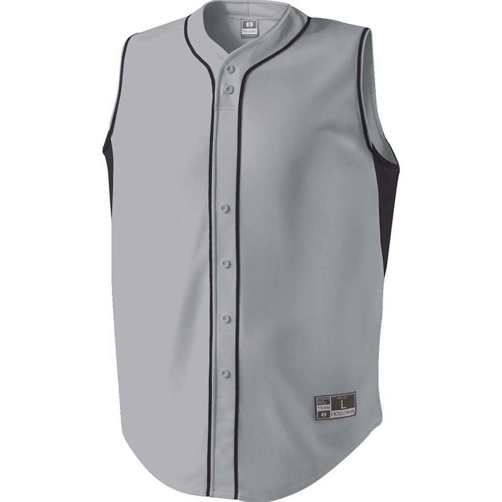 Holloway Adult Fierce Dry Excel Baseball Jersey (Small, Blue Grey/Black)