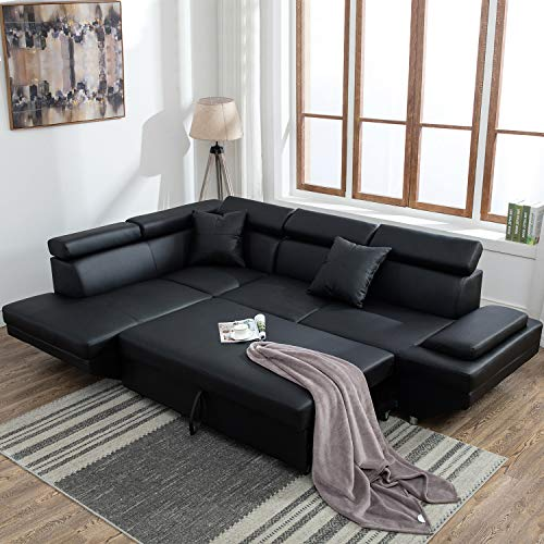 Sectional Sofa for Living Room Sofa Bed Couches and Sofas Sleeper Sofa Faux  Leather Sofa Sets Modern Sofa Futon Sofa Contemporary Upholstered Home ...