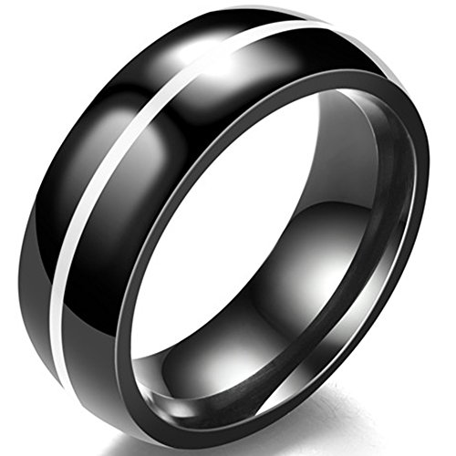Jude Jewelers 8MM Classical Black Stainless Steel Ring