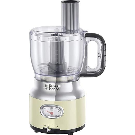 Russell Hobbs Retro - Robot de Cocina (850 W, Vaso Smoothies, Recipiente Mezclador, Disco de Corte y de Rallado, Crema) - ref. 25182-56