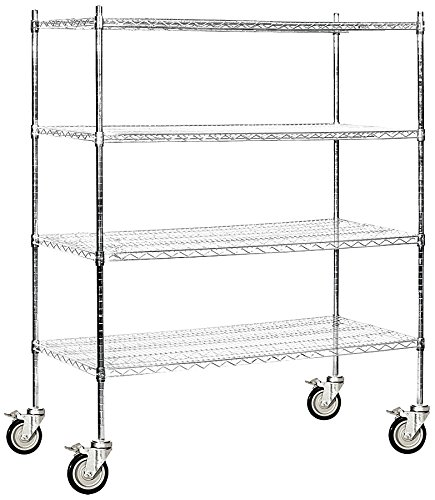 Salsbury Industries Mobile Wire Shelving Unit, 60-Inch Wide by 69-Inch High by 24-Inch Deep, (Heavy Duty Mobile Shelving Unit)