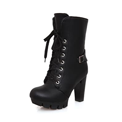 Womens Round Closed Toe High Heels PU Short Plush Solid Boots with Buckle and Bandage