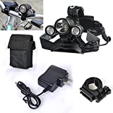Genwiss 2 in 1 Super Bright 5000 lumen 4 Modes CREE XML-T6 XPE R2 LED Headlamp Headlight &Bike Bicycle Flashlight for Camping Biking Working Hunting Fishing Riding Walking(With Batteries)