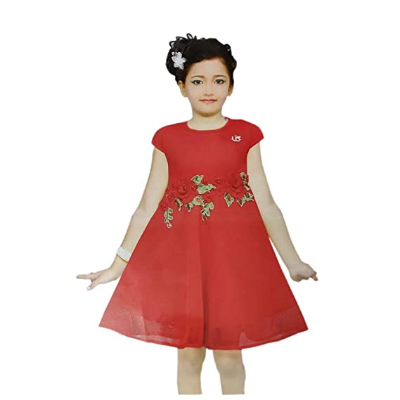 5309cf0d8 Sreca Beautiful Red Frock Red Roses aby Girl Party Wear Ball Gown ...