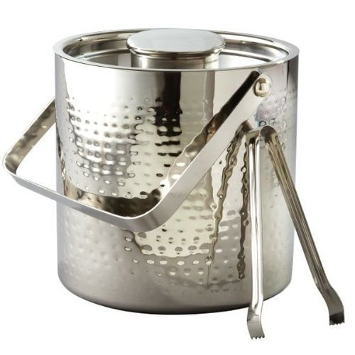Elegance Silver Large Hammered Ice Bucket With Lid And Ice Tong, 3 Quarts