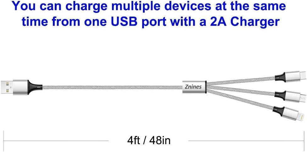 Multi Charging Cable Lightning Micro USB C 3 in 1 Nylon Braided Fast Charger Cable 3.9ft Portable Travel Cables Data Sync Cord with Leather Strap for All Smartphones
