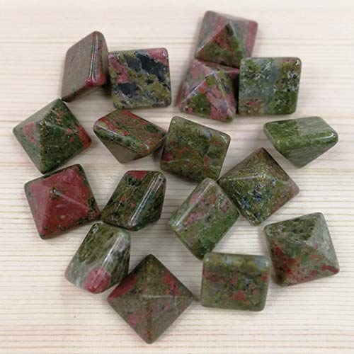 Calvas Fashion 14MM Natural unakite Stone Beads Charms Square Pyramid cab cabochons 50pcs for Jewelry Making Earring accessorie No Hole